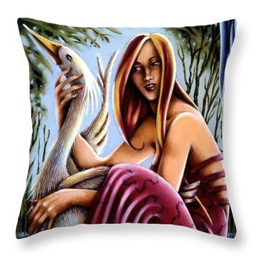 Throw Pillow featuring the painting Swamp Song by Valerie White