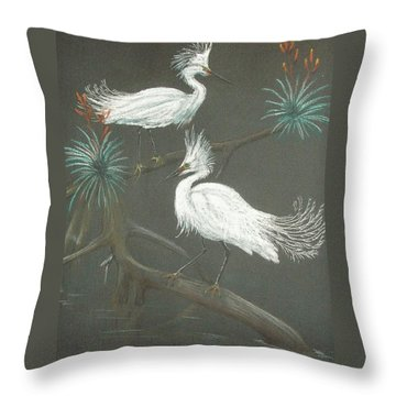 Throw Pillow featuring the pastel Swampbirds by Terry Frederick
