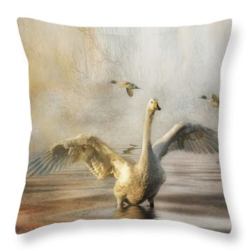 Throw Pillow featuring the photograph Swan At Sundown by Brian Tarr