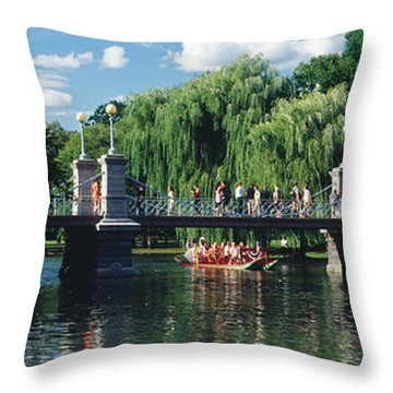 Swan Boat In The Pond At Boston Public Throw Pillow