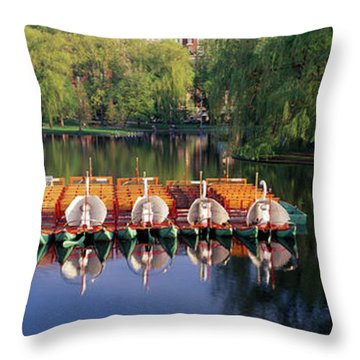 Swan Boats In A Lake, Boston Common Throw Pillow