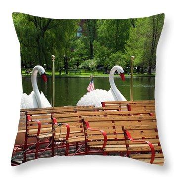 Swan Boats In Boston Throw Pillow