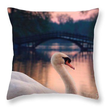 Swan Bridge Throw Pillow