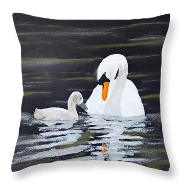 Swan Care Throw Pillow by Jack G  Brauer