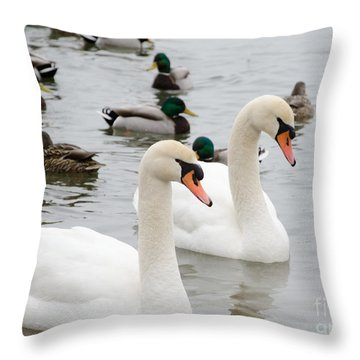 Swan Couple Throw Pillow