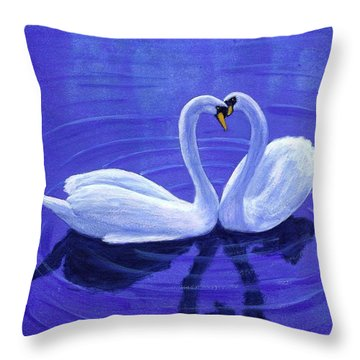 Swan Hearts Throw Pillow