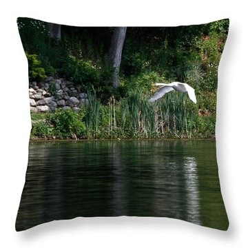 Throw Pillow featuring the photograph Swan In Flight by Eleanor Abramson