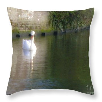 Throw Pillow featuring the photograph Swan In The Canal by Victoria Harrington