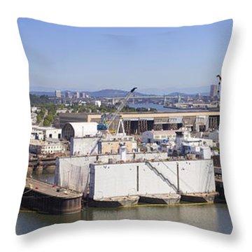 Swan Island Shipyard Panorama Throw Pillow