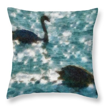 Swan Lake Throw Pillow by Ayse Deniz