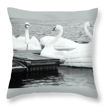 Throw Pillow featuring the photograph White Swan Lake by Belinda Lee
