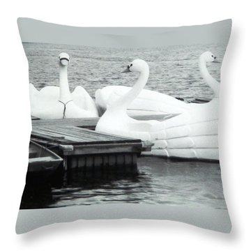 White Swan Lake Throw Pillow by Belinda Lee