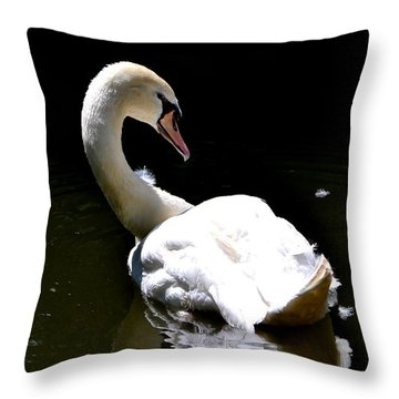 Throw Pillow featuring the photograph Swan Lake by Deena Stoddard