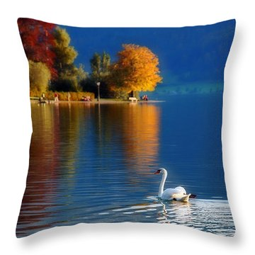 Beautiful Autumn Swan At Lake Schiliersee Germany  Throw Pillow