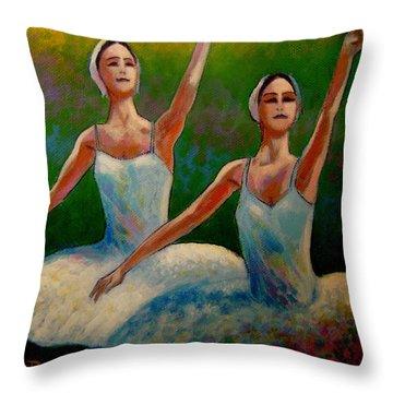 Swan Lake II Throw Pillow by John  Nolan
