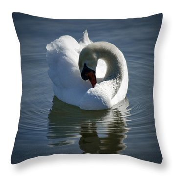 Throw Pillow featuring the photograph Swan Lake by Pennie  McCracken