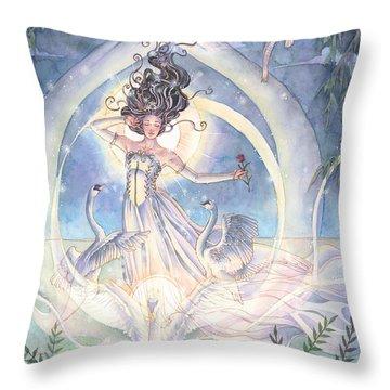Swan Lake Throw Pillow by Sara Burrier