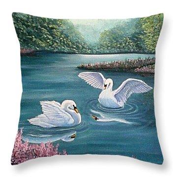 Swan Lake Serenity Throw Pillow