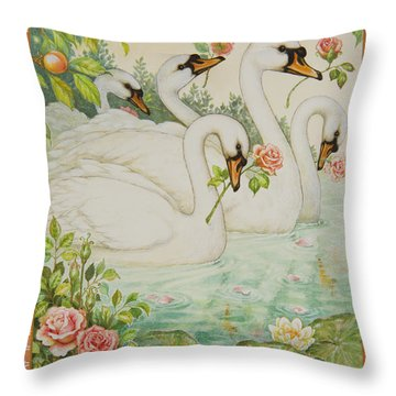 Swan Romance Throw Pillow by Lynn Bywaters