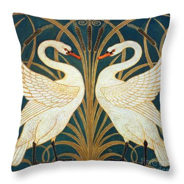 Swan Rush And Iris Throw Pillow
