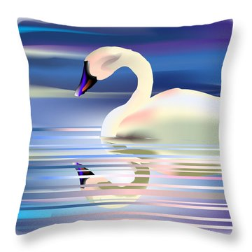 Throw Pillow featuring the digital art Swan Song by Arline Wagner