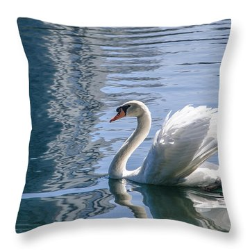 Swan Throw Pillow by Steven Sparks
