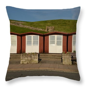 Swanage Beach Huts Throw Pillow by Linsey Williams
