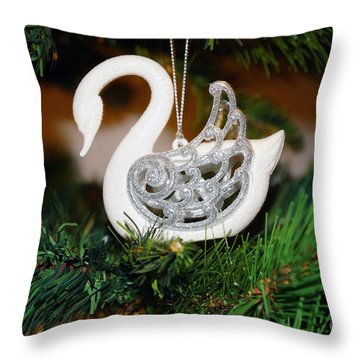 Throw Pillow featuring the photograph Swans A Swimming by Cassandra Buckley