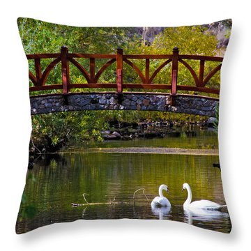 Throw Pillow featuring the photograph Swans At Caughlin Ranch II by Janis Knight