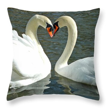 Throw Pillow featuring the photograph Swans At City Park by Olivia Hardwicke