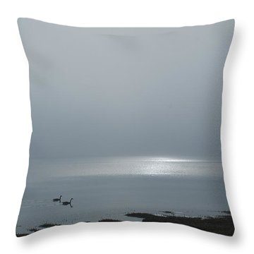 Swans At Sunrise Throw Pillow