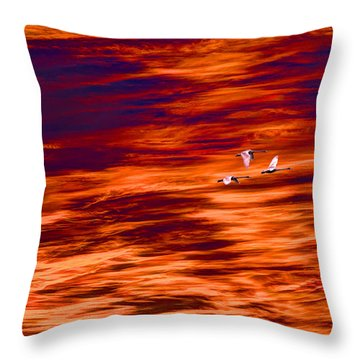 Swans Flying Throw Pillow by Tommytechno Sweden
