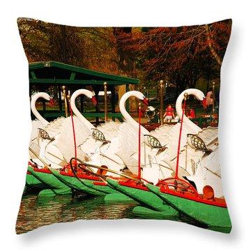 Swans In Boston Common Throw Pillow by James Kirkikis