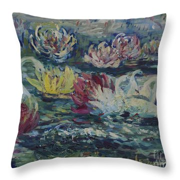 Throw Pillow featuring the painting Swans In Lilies  by Avonelle Kelsey