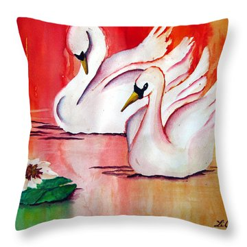 Swans In Love Throw Pillow by Lil Taylor