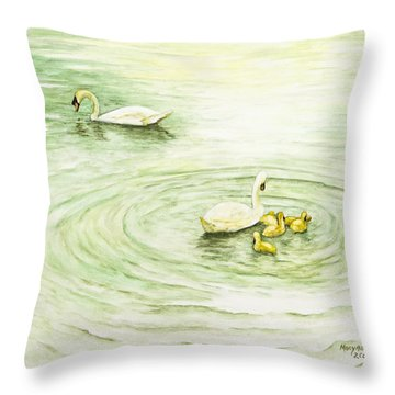 Swans In St. Pierre Throw Pillow