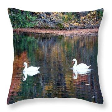 Throw Pillow featuring the photograph Swans by Karen Silvestri