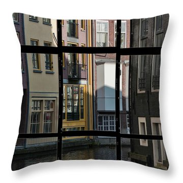 Swans Love Amsterdam Throw Pillow by Joan Carroll