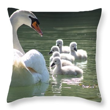 Swans  Throw Pillow by Rogerio Mariani