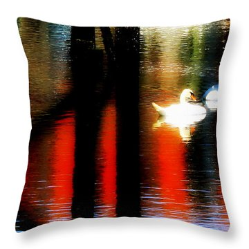 Throw Pillow featuring the photograph Swans Sojourn by Aurelio Zucco