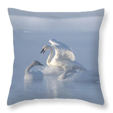 Trumpeter Swans - Three's Company Throw Pillow by Patti Deters