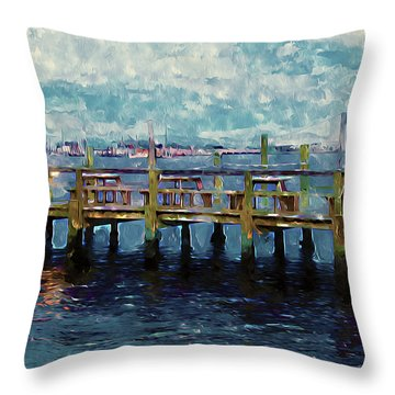 Swansboro Dock 1 Throw Pillow by Lanjee Chee