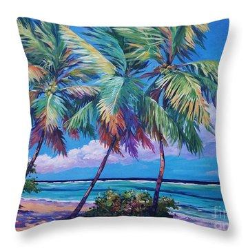 Swaying Palms  Throw Pillow by John Clark