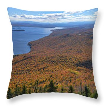 Throw Pillow featuring the photograph Sweeping Fall Panorama Over Lake Memphremagog by Sebastien Coursol
