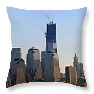 Sweeping Panorama Of New York City Before Sunset Throw Pillow by Sebastien Coursol