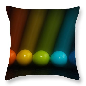 Throw Pillow featuring the photograph Sweet Candy Rainbow by Lisa Knechtel