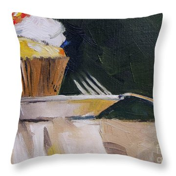 Sweet Cupcake Throw Pillow by Mary Hubley