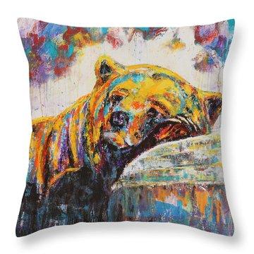 Sweet Dreams Bear Throw Pillow by Jennifer Godshalk