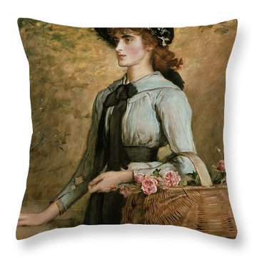 Sweet Emma Morland Throw Pillow by Sir John Everett Millais