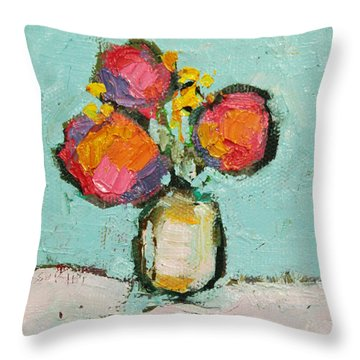 Throw Pillow featuring the painting Sweet Flowers by Becky Kim
